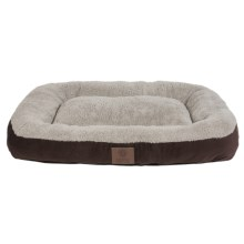 "AKC Suede Rectangular Bolster Dog Bed - Large, 27x36"" in Brown - Closeouts"