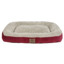 "AKC Suede Rectangular Bolster Dog Bed - Large, 27x36"" in Red - Closeouts"