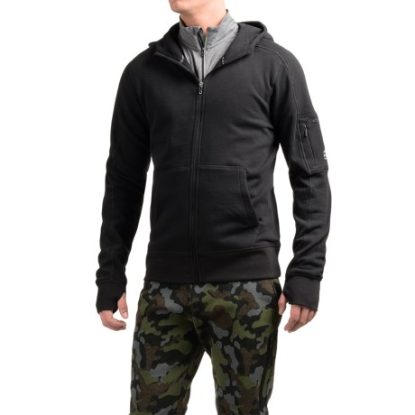 AL1VE Fleece Hoodie - Full Zip (For Men) in Rich Black