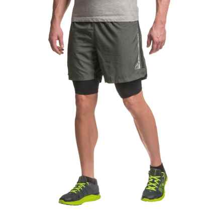 AL1VE Mesh Running Shorts - Built-In Liner (For Men) in Rich Black Cross/Rich Black - Closeouts