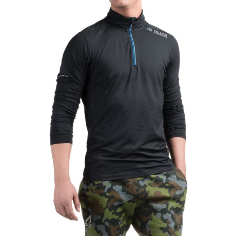 AL1VE Running Shirt - Zip Neck, Long Sleeve (For Men) in Rich Black