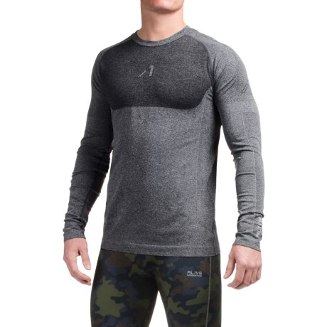 AL1VE Seamless Running Shirt - Long Sleeve (For Men) in Coal Grey Heather