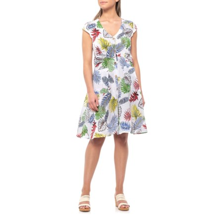 654b1bb91a Alessia Pacini Made in Italy Multi Leaves Printed Shirtdress - Linen