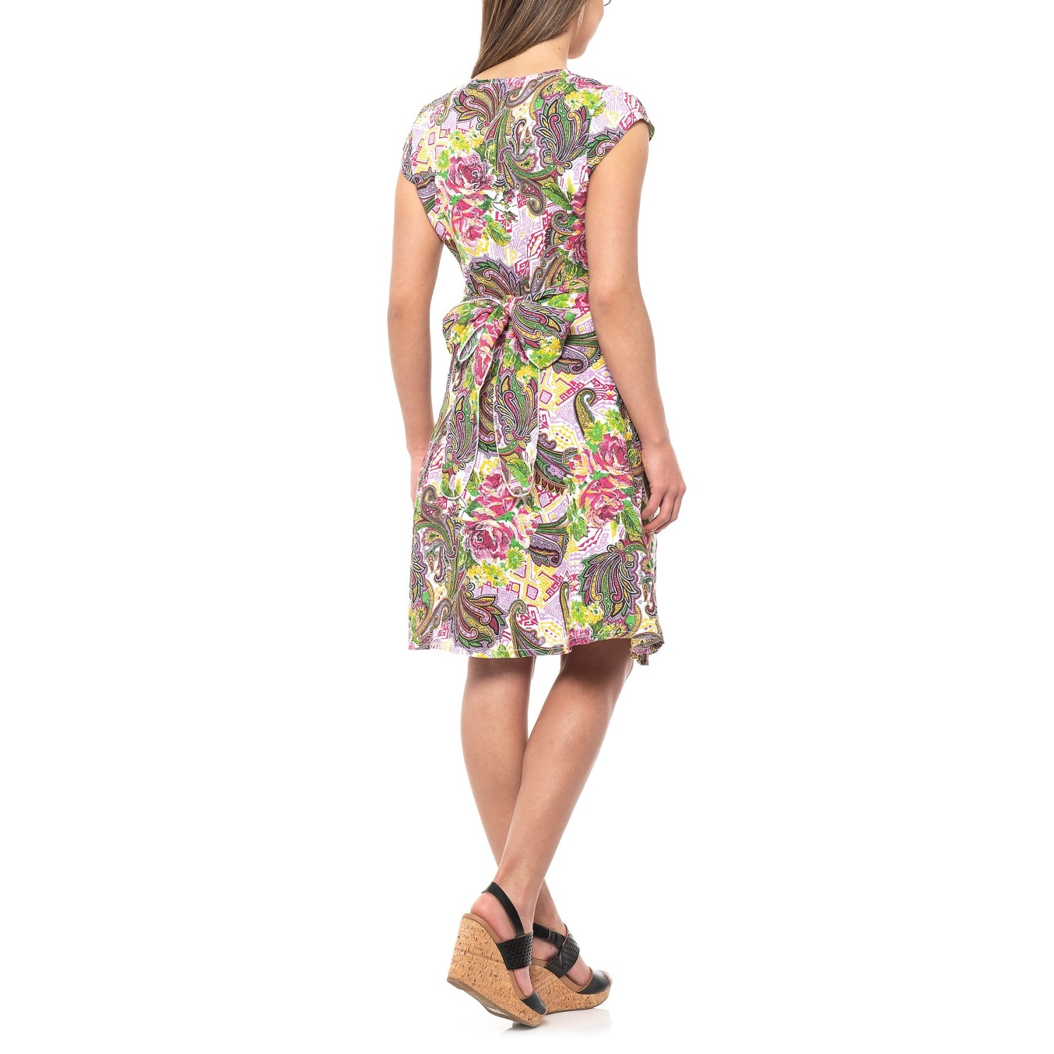 706217a8bf ... 543NA 2 Alessia Pacini Made in Italy Scattered Floral Printed Shirt  Dress - Cap Sleeve (For