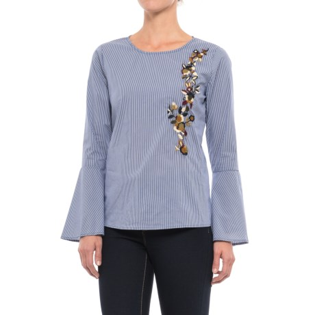 Image of Alexander Jordan Embroidered Bell Sleeve Shirt - Long Sleeve (For Women)