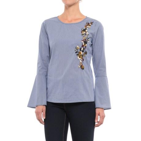 Alexander Jordan Embroidered Bell Sleeve Shirt - Long Sleeve (For Women) in Blue/White