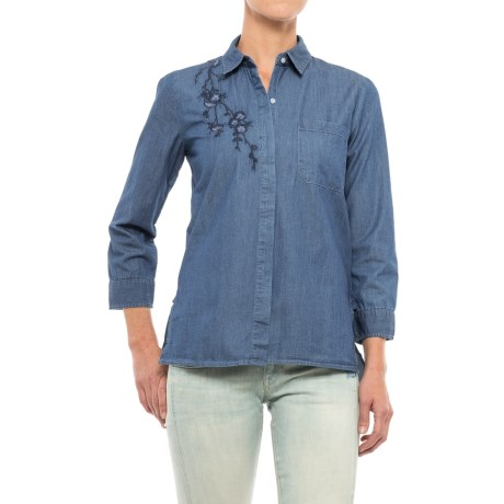 Alexander Jordan Embroidered Button-Down Shirt - Long Sleeve (For Women) in Medium Wash