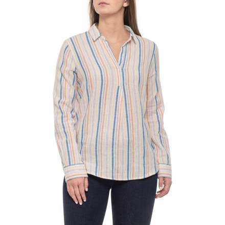 46411cb55bc Alexander Jordan Multi-Stripe Johnny Collar Shirt - Linen-Cotton, Long  Sleeve (