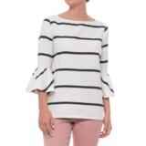 Alexander Jordan Striped Flutter Sleeve Shirt - Long Sleeve (For Women)