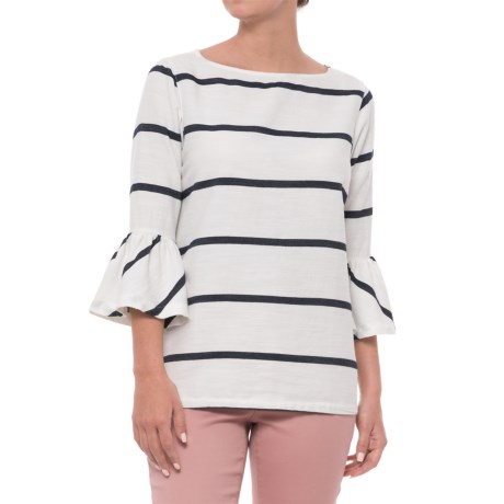 Alexander Jordan Striped Flutter Sleeve Shirt - Long Sleeve (For Women) in White
