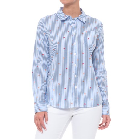 Alexander Jordan Striped Palm Tree Print Shirt - Long Sleeve (For Women) in Blue/White