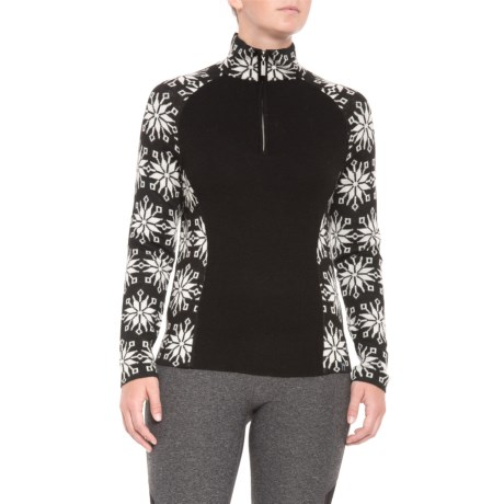 Image of Ali Snowflake Sweater - Merino Wool, Zip Neck (For Women)
