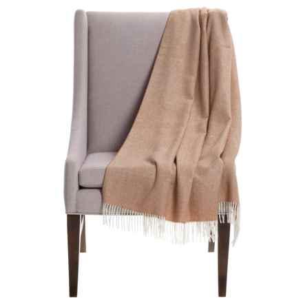 "Alicia Adams Alpaca Baby Alpaca Herringbone Throw Blanket - 51x71"" in Beige - Closeouts"