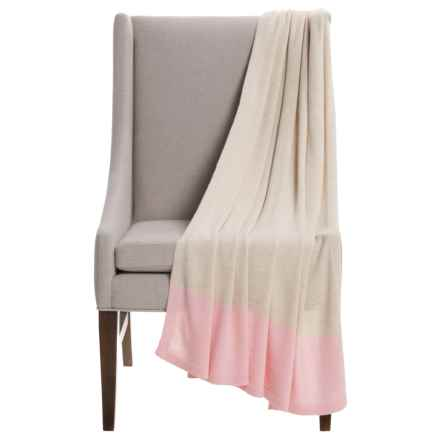 "Alicia Adams Alpaca Band Throw Blanket - Baby Alpaca, 51x71"" in Beige/Pink - Closeouts"