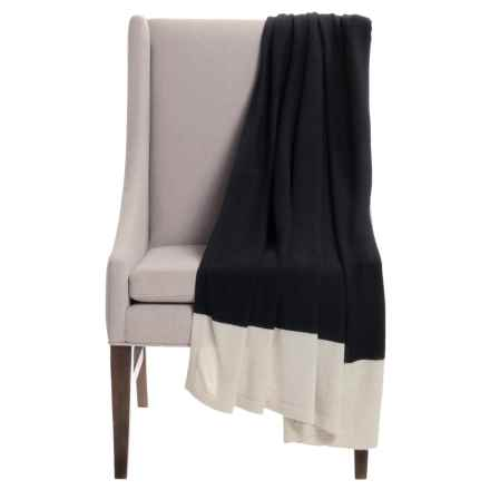 "Alicia Adams Alpaca Band Throw Blanket - Baby Alpaca, 51x71"" in Black/Ivory - Closeouts"