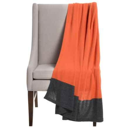 "Alicia Adams Alpaca Band Throw Blanket - Baby Alpaca, 51x71"" in Orange/Charcoal - Closeouts"