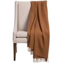 """Alicia Adams Alpaca Classic Throw Blanket - Baby Alpaca, 51x71"""" in Cognac - Closeouts"""