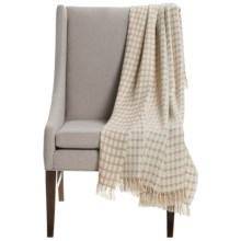 "Alicia Adams Alpaca Houndstooth Throw Blanket - Baby Alpaca, 51x71"" in Beige/Ivory - Closeouts"
