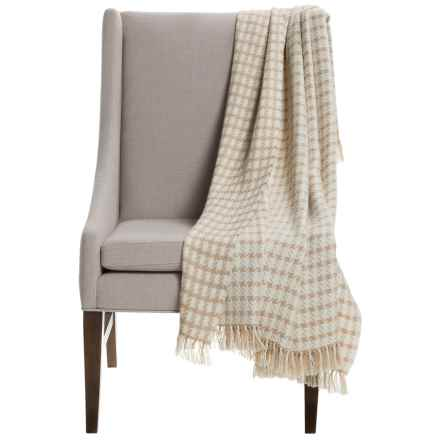 "Alicia Adams Alpaca Houndstooth Throw Blanket - Baby Alpaca, 51x71"" in Beige/Ivory - Closeouts"