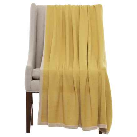 "Alicia Adams Baby Alpaca Throw Blanket - 51x71"" in French Yellow/Beige - Closeouts"