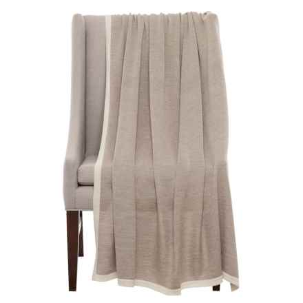 """Alicia Adams Baby Alpaca Throw Blanket - 51x71"""" in Taupe/Ivory - Closeouts"""
