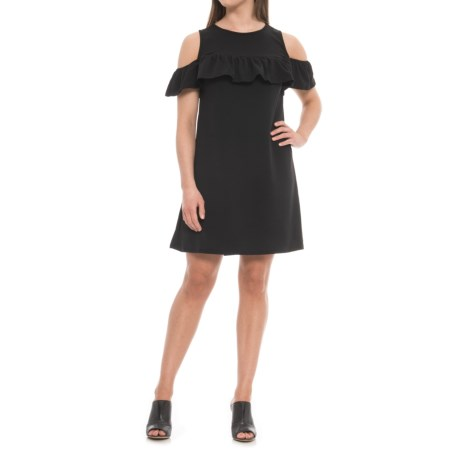 Alison Andrews Across Shoulder Ruffle Dress - Sleeveless (For Women) in Black