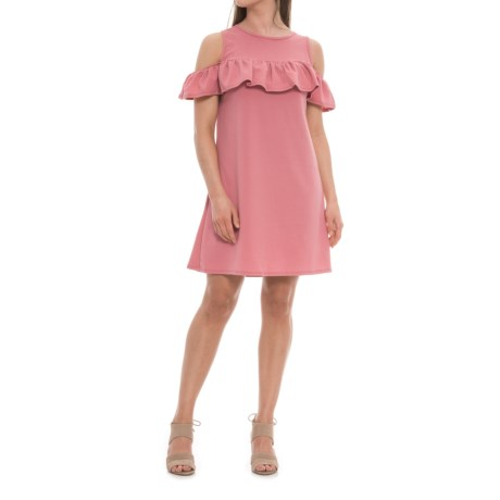 Alison Andrews Across Shoulder Ruffle Dress - Sleeveless (For Women) in Mauve
