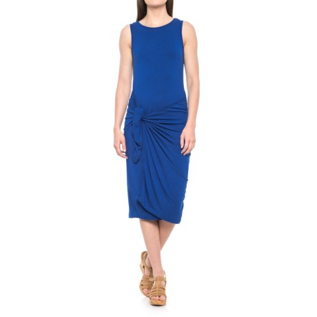 Alison Andrews Asymmetrical Waist Wrap Solid Midi Dress - Scoop Neck, Sleeveless (For Women)