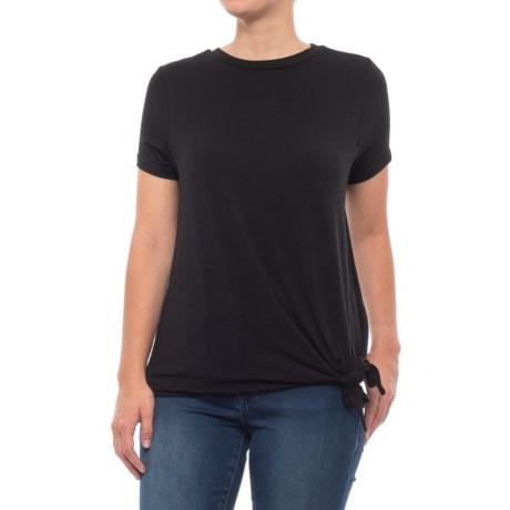 Alison Andrews Boat Neck Asymmetrical Shirt - Short Sleeve (For Women) in Black