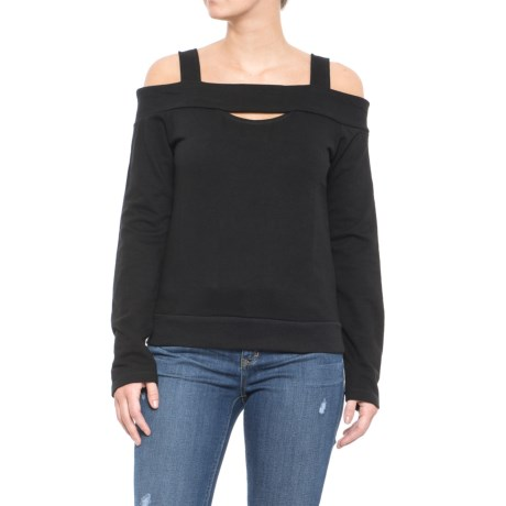 Alison Andrews Cold-Shoulder Cutout Shirt - Long Sleeve (For Women) in Black