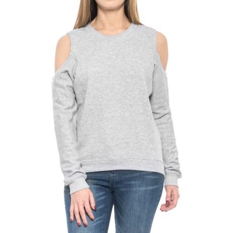 Alison Andrews Cold Shoulder Sweatshirt - Crew Neck (For Women) in Light Grey Heather