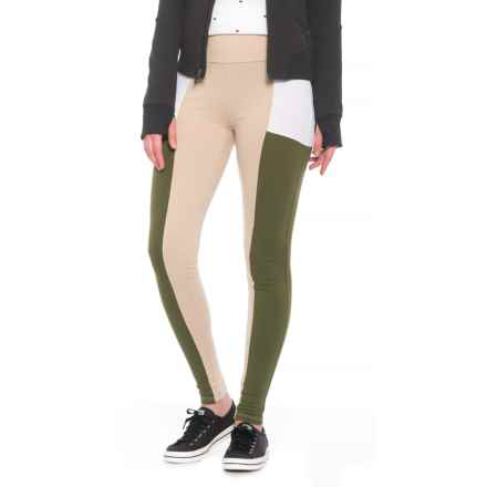 Alison Andrews Color-Block Leggings (For Women) in Doeskin/Bright White/Bronze Green - Closeouts