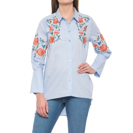Alison Andrews Embroidered High-Low Shirt - 3/4 Sleeve (For Women) in Light Blue