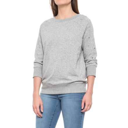Grommet Detail Sweatshirt - Crew Neck, 3/4 Sleeve (For Women) in Grey Heather - Closeouts