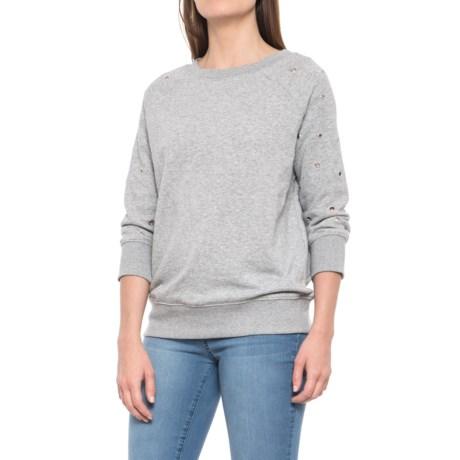 Alison Andrews Grommet Detail Sweatshirt - Crew Neck, 3/4 Sleeve (For Women) in Grey Heather