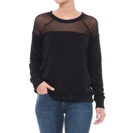 Alison Andrews Mesh Yoke Sweatshirt - Crew Neck, Long Sleeve (For Women) in Black