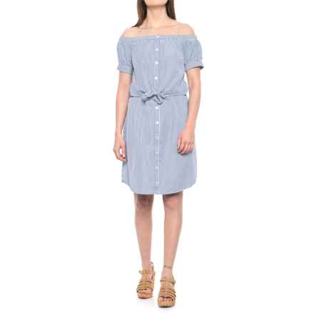 Alison Andrews Off-the-Shoulder Button-Up Tie-Front Dress - Short Sleeve (For Women) in Blue/White - Closeouts