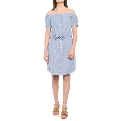 Alison Andrews Off-the-Shoulder Button-Up Tie-Front Dress - Short Sleeve (For Women) in Blue/White