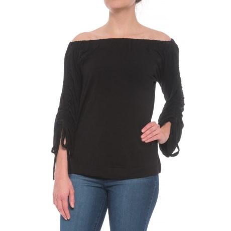 Alison Andrews Off-the-Shoulder Side Slit Shirt -3/4 Sleeve (For Women) in Black Vinyl