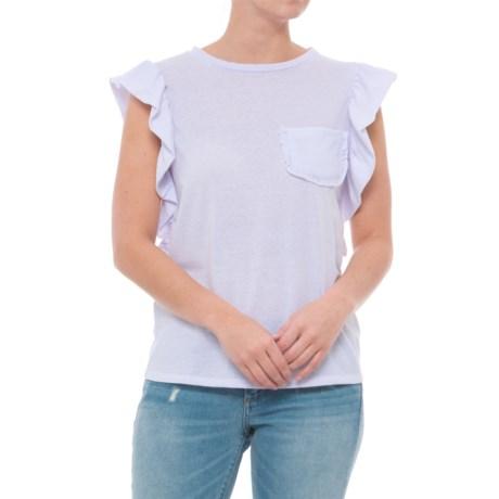 Alison Andrews Ruffle Shoulder Patch Pocket Shirt - Short Sleeve (For Women) in Brilliant White