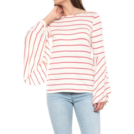 Alison Andrews Striped Ruffled Sleeve Shirt - Scoop Neck, Long Sleeve (For Women) in Brilliant White/Conch Shell