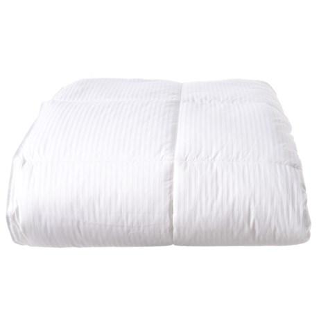 Image of All-Season Down-Alternative Stripe White Comforter - King, 300 TC Cotton