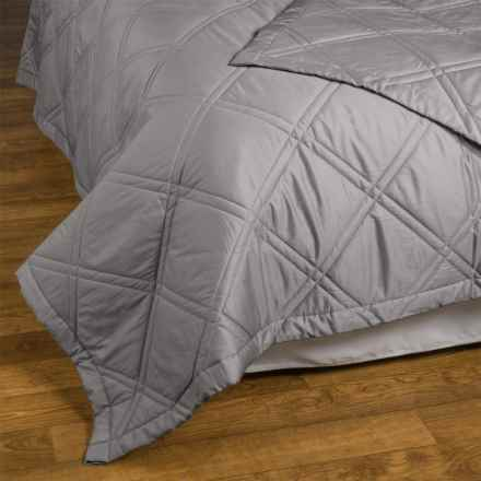 Allegria Fine Linens Lattice Quilted Coverlet - King, 300 TC Egyptian Cotton Sateen in Graphite - Closeouts