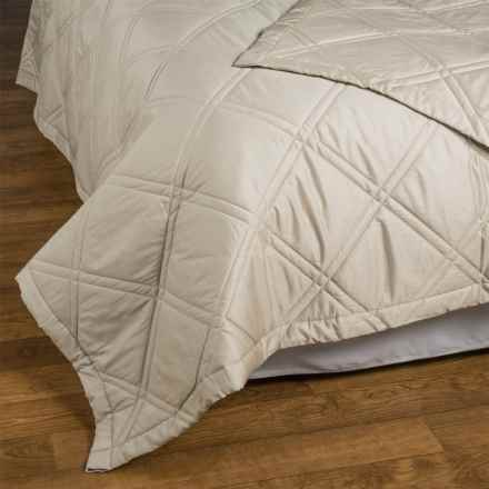 Allegria Fine Linens Lattice Quilted Coverlet - Queen, 300 TC Egyptian Cotton Sateen in Taupe - Closeouts