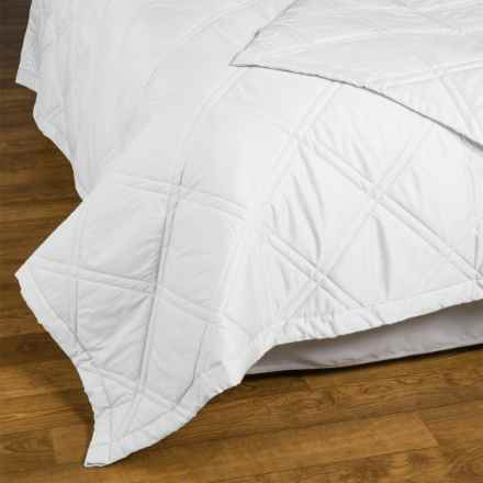 Allegria Fine Linens Lattice Quilted Coverlet - Queen, 300 TC Egyptian Cotton Sateen in White - Closeouts
