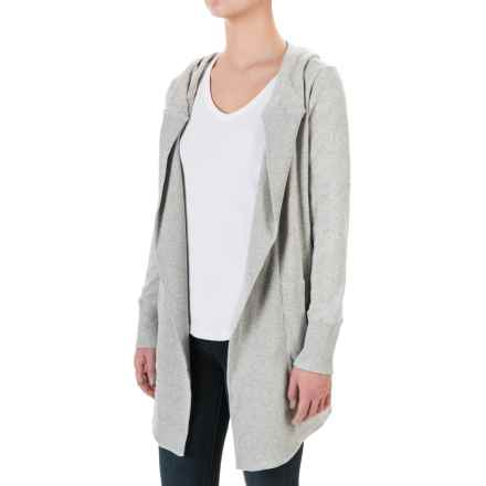 allen allen Hooded Cardigan Sweater - Open Front (For Women) in Heather Grey - Closeouts