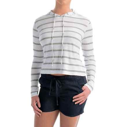 allen allen Hooded Striped Shirt - Long Sleeve (For Women) in White - Overstock