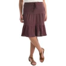 allen allen Linen Tiered Skirt (For Women) in Eggplant - Overstock