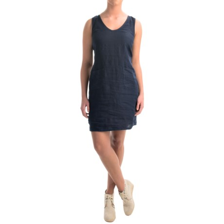 allen allen Linen V Neck Dress Sleeveless (For Women)