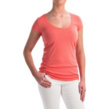 allen allen Scoop Neck T-Shirt - Short Sleeve (For Women) in Begonia - Overstock